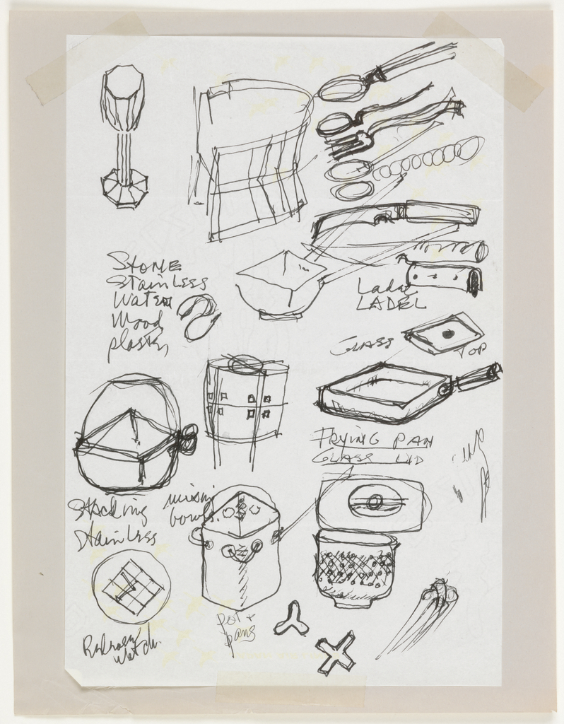 "Drawing, ""Designs for Cookware and Kitchen Utensils"", 1985–86"