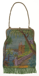 Rectangular bag with gold-colored metal frame and chain, fringed with green beads. Both sides of bag worked in same scene: trees, villas, and stairway leading to the shore. Lined in lavender silk.