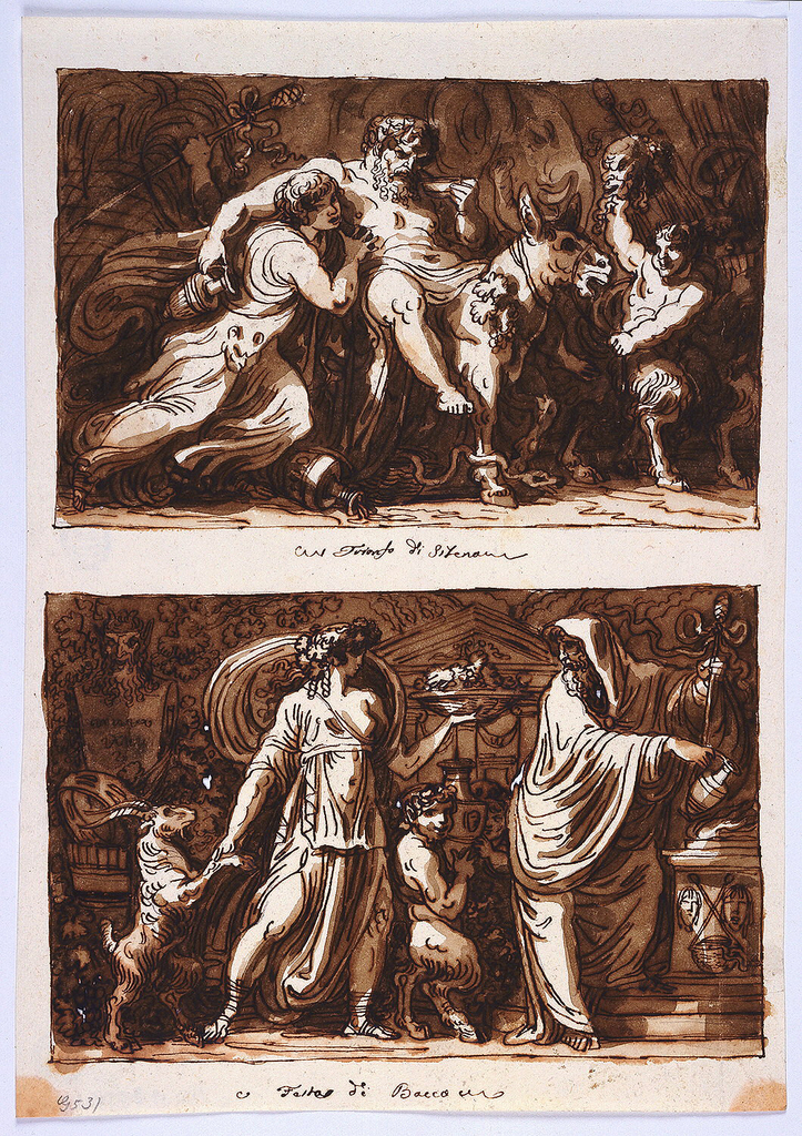 Drawing, Sheet from a Sketchbook:  The Triumph of Silenus;  Sacrifice to Bacchus