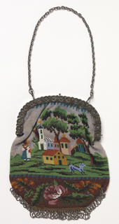 Flat bag with landscapes and a floral band at the bottom. Steel frame with chain and steel fringe at lower edge. White silk lining.