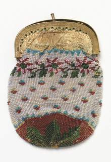 Small bag with metal frame knitted with beads and lined in leather. Design of small flowers in red and blue on a white ground, with a floral border at the top and a solid red bottom.