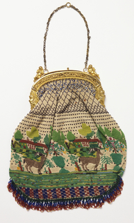 Beaded bag with a row of goats, flowers in a tub, houses in background. Attached to a frame of gilded metal, with winged lions in profile at ends, pair of winged cherubs at top. Striped silk lining.