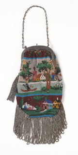 Unevenly shaped bag fringed with silver beads with tassel of silver beads attached to each end of the rounded steel frame. Same scene on each side: houses and trees beside a river on which a man rows a boat. Lined with gray silk.