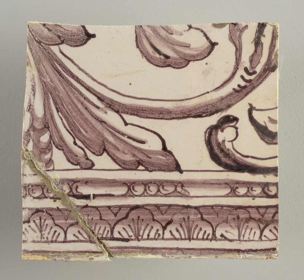 Horizontal rectangle.  Thirty-seven tiles wide and twenty-one high with opening for door or window nineteen and one-half tiles high and twelve wide.  To left and right of opening, centered canopy above. Left, woman representing Hope, right, a sculputure urn.  Centered above opening, a mascaron.  Arabesque design of foliage.