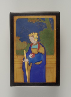 Molded, red earthenware rectangular plaque decorated with a woman in medieval dress and crown, holding a book and swork.  Behind her is a low wall and columns and landscape with a distant castle.  Design defined by raised contours and filled with various matte and high glazes in natural colors.  Black matte-glazed border around plaque.