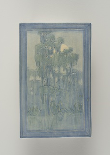 Scenic plaque Spanish moss with moon. Molded rectangular plaque with carved design of cypress trees covered with moss set against a moonlit sky, all within a carved border. Underglaze colors of blues, greens, blue-greens and pale yellow.