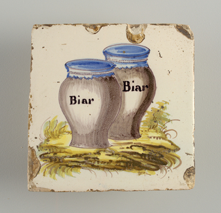 "Two jars in manganese, with blue covers, Each inscribed ""Bear"", in black letters."