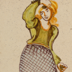 Dancing woman, dressed in green and manganese diaper patterned skirt with two yellow ruffles at bottom.