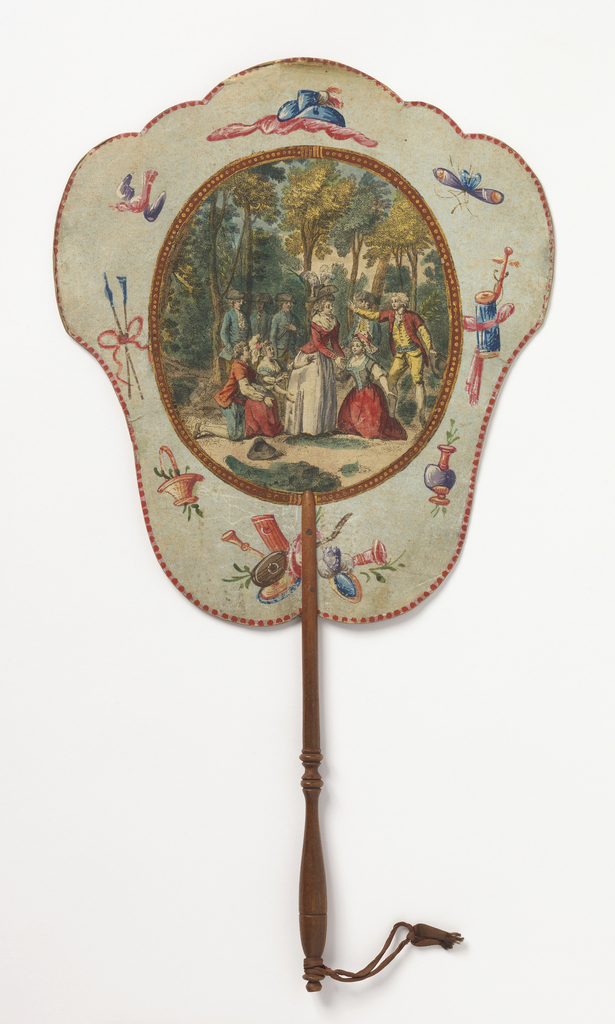 "Handscreen with paper leaf and turned wood handle. Obverse: oval medallion with a hand-colored engraving showing figures in a forested landscape, three of which are kneeling, surrounded by a framework of hand-painted motifs. Reverse: dialogue from the comic opera ""Les Solitaires de Normandie."""