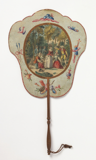 """Handscreen with paper leaf and turned wood handle. Obverse: oval medallion with a hand-colored engraving showing figures in a forested landscape, three of which are kneeling, surrounded by a framework of hand-painted motifs, . Reverse: dialogue from the comic opera """"Les Solitaires de Normandie."""""""