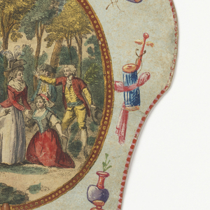 """Handscreen with paper leaf and turned wood handle. Obverse: oval medallion with a hand-colored engraving showing figures in a forested landscape, three of which are kneeling, surrounded by a framework of hand-painted motifs. Reverse: dialogue from the comic opera """"Les Solitaires de Normandie."""""""