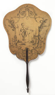 Handscreen with engraved design on paper board. Obverse: a scrolling cartouche with shepherdess doffing a tricorn hat. Reverse: scrolling cartouche with a pile of clothing and possessions in a landscape. Turned wood handle.