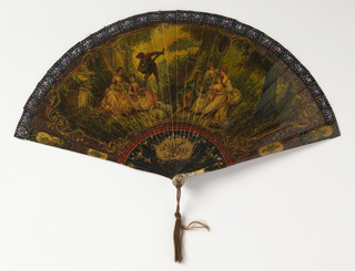 "Brisé fan. Ivory sticks painted to resemble ""vernis martin"" showing flowers and gilding along the border and a large central cartouche containing eighteenth century-style figures in a garden with musician. Silk connecting ribbon. Gilt metal bail and mother-of-pearl at rivet. Hair tassel."