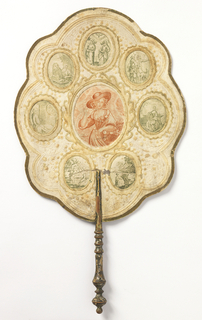 Shaped leaf of paper with embossed scrolls and flowers, gold edges, and a turned wood handle. On each side there is a larger center medallion printed in red, surrounded by seven smaller medallions printed in green. On the obverse, the central medallion has a figure of a young woman; on the reverse, a parrot on branch with squirrel is printed in the center medallion.