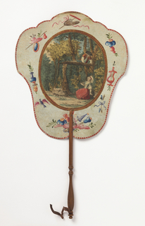"Handscreen with paper leaf and turned wood handle. Obverse: hand-colored engraving of a couple building a treehouse in the forest, surrounded by a frame of hand painted motifs. Reverse: dialogue from the comic opera ""Les Solitaires de Normandie."""