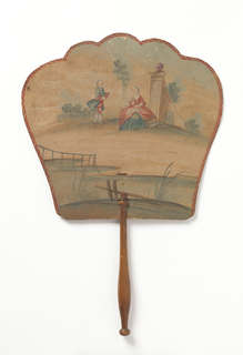 Handscreen with a hand-painted paper leaf.  Obverse: man and woman in landscape. Reverse: building with tower in landscape. Turned wood handle.
