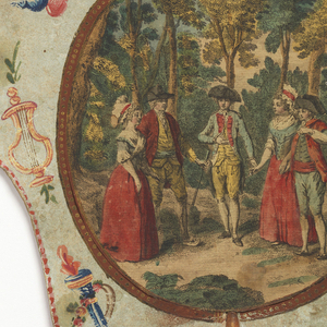 "Handscreen with paper leaf and turned wood handle. Obverse: oval medallion with a hand-colored engraving showing five figures in a forested landscape, surrounded by a framework of hand painted motifs. Reverse: dialogue from the comic opera ""Les Solitaires de Normandie."""