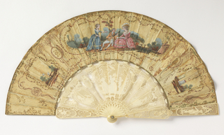 Pleated fan with double leaf. Obverse: painted and gilded silk leaf with tambour work and metallic spangles. At center, figures in a landscape; to the left and right, portraits and monograms. Reverse: painted silk leaf. Carved and pierced ivory sticks showing putti and figures. Mother-of-pearl backing behind the guards. Glass stone at the rivet.