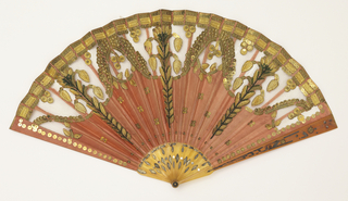 Pleated fan, silk leaf with silk net, embroidered with metallic spangles and stamped metal pieces in a floral pattern, sticks of incised horn with applied metallic foil. Coral-colored silk with classical ornament in gold metallic.