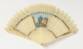 "Fan case with removable lid. Reversible ""four-way"" brisé fan with figural scenes painted in gouache. Sticks of drilled and painted bone."