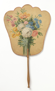 Handscreen with a hand-painted paper leaf. Obverse: a colorful bouquet of flowers. Reverse: blue trumpet shaped flowers resembling Gentiana Acaulis. Turned wood handle.