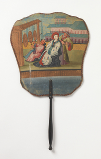 Handscreen with a hand-painted paper leaf. Obverse: a Chinoiserie scene with enthroned woman, Chinese man in hat, and man playing gongs. Reverse: a spray of flowers with three pink blossoms. Turned wood handle.