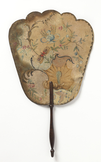 Handscreen with a gilded and hand-painted paper leaf.  Obverse:  rocaille, insects, flowers and blue and white porcelain. Reverse: a flowering branch with pink and blue blossoms. Turned wood handle.