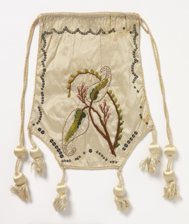 White silk purse trimmed with white silk cord and tassels, and silver sequins; one side embroidered in pink, brown, and green chenille in floral design; reverse has painted trophies of music.