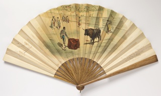 Pleated fan, paper leaf with chromolithograph showing a bullfighting scene on the obverse. Girl dancing at a cafe frequented by bullfighters on the reverse. Varnished wood sticks with painted grain.