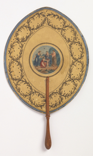 Handscreen with an ogee-shaped leaf with a deep border of intertwinted laurel, and a round center medallion with a classical scene of three women bringing fruit to Cupid, seated on a pedestal. Reverse: a cow with a suckling calf.
