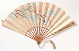 Pleated fan. Paper leaf painted pink with design of floral and leaf pattern in black, white and blue. Reverse: plain. Unpainted bamboo sticks. Guards decorated with  double cord to form diamond pattern. Silk tassel.
