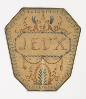 "Printed paper handscreen leaf (handle missing) with ""Jeux"" (games) spelled out in playing cherubs, with garlands, swags and other neoclassical ornament."