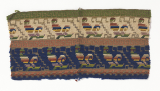 Fragment of crochet patterned with two narrow bands with a multi-colored stylized leaf on a gold stem, one on blue background and the other ivory. With narrow guard stripes of Greek key fret.