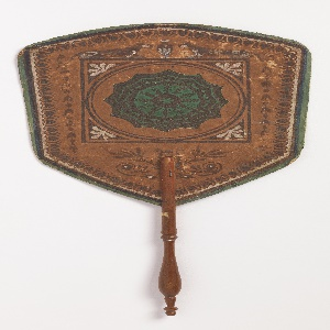Handscreen with a hexagonal leaf, round center medallion of cupid, surrounded by hand-painted and stenciled borders in the neoclassical style.