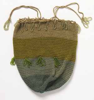 Ladies bag crocheted in bands of gray, yellow and tan silk with glass beads, strung on silk and used as tassels; crocheted cord at top.