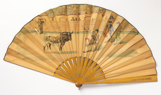 Pleated fan. Obverse shows a bullfighting scene. Sticks are varnished light wood with a stamped gilt design.
