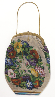 Large bag of solid beadwork, with a multi-colored floral wreath on each side. Silver-gilt clasp and chain; lined with silk crepe.