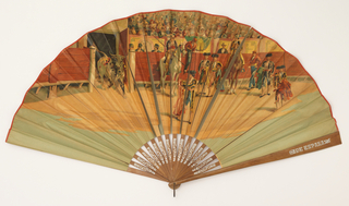Pleated fan. Obverse has a bullfighting scene. Sticks of varnished wood with stamped silvered design.