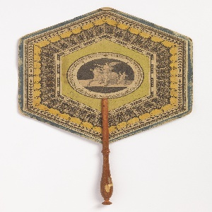 Handscreen with hexagonal leaf and turned wood handle. Applied round lithograph in center of a satyr in turqoise on a black ground, surrounded by diamond-shaped and hexagonal frames with floral and geometric ornament.