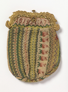 "Small bag of knitted silk with a silver gilt frame. Striped with geometric patterns in yellows and pink rosebuds on a white ground. Inscription at the top ""L.W. ALSOP""."