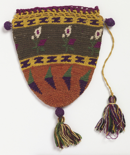 Bag of colored silks, crocheted in horizontal bands ornamented with geometric forms and floral sprays; drawstring closure and ornamented with tassels and balls.
