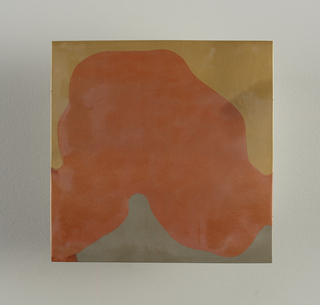 Square flat molded tile. Surface with variegated abstract pattern with metallic copper, pewter, and brass finish; unglazed on reverse.