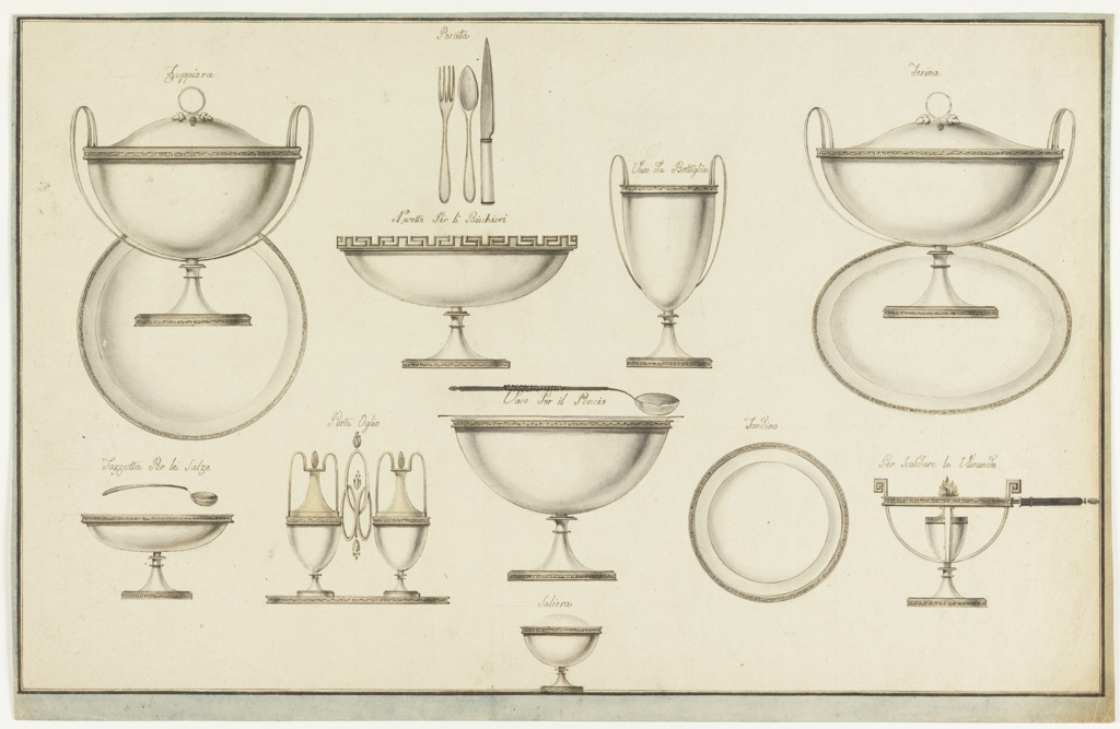 """Designs for dishes, eleven groupings in total, distributed across the sheet. From top row: a tureen with two biforked handles and a vine slope on top.  The plate is in an upright position; caption, written in ink: """"Zvppiera"""".  A fork, a spoon, a knife over an oval bowl.  Caption: """"Posta""""  and """"Navette Per li Bicchieri""""; a bottle cooler, """"Vaso Bottiglia""""; an oval covered bowl corresponding to the tureen, """"Terina""""; oval bowl as a saucer, the spoon is over it, """"Tazzetta Per le Salze""""; a cruet frame the handle consisting of three intertwined oval rings, """"Porta Oglis""""; a silver bowl, a spoon with a wooden handle is shown over it, """"Vaso Per il Poncio""""; a plate, """"Tondino""""; a plate warmer with a wooden handle, """"Per Scaldare le Vivande.""""  Bottom center: a round salt cellar, """"Saliera.""""  Two framing lines, blue stripe."""