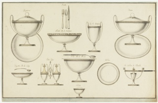 "Designs for dishes, eleven groupings in total, distributed across the sheet. From top row: a tureen with two biforked handles and a vine slope on top.  The plate is in an upright position; caption, written in ink: ""Zvppiera"".  A fork, a spoon, a knife over an oval bowl.  Caption: ""Posta""  and ""Navette Per li Bicchieri""; a bottle cooler, ""Vaso Bottiglia""; an oval covered bowl corresponding to the tureen, ""Terina""; oval bowl as a saucer, the spoon is over it, ""Tazzetta Per le Salze""; a cruet frame the handle consisting of three intertwined oval rings, ""Porta Oglis""; a silver bowl, a spoon with a wooden handle is shown over it, ""Vaso Per il Poncio""; a plate, ""Tondino""; a plate warmer with a wooden handle, ""Per Scaldare le Vivande.""  Bottom center: a round salt cellar, ""Saliera.""  Two framing lines, blue stripe."