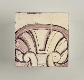Running design for a frieze or a dado, composed of scrolls of foliage and strapwork, and four repeating motifs--a seated woman in a small upright oval medallion, a putto seated on a rocailled base, and strapwork in axial pattern.  The various panels, A to F, show various repeats of the same design, all being five tiles high and a varying number of tiles wide.