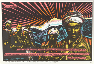 Print of Kurdish peasants with quote For Anti-WW3 Internationalist Art; a response to Iraqi persecution of the Kurds