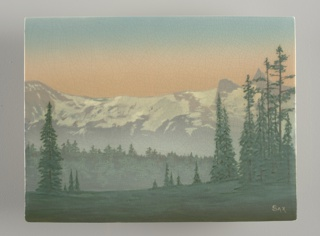 Landscape with Snowcapped Mountains Scenic Plaque