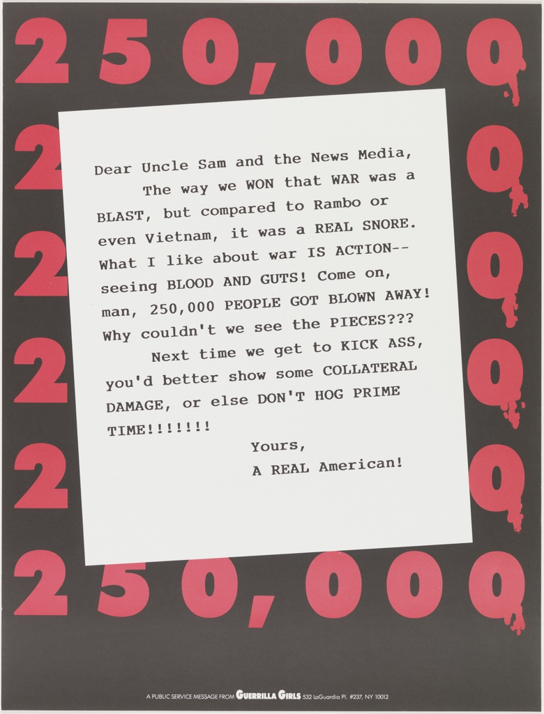 "Description: Satirical letter to Uncle Sam  and the news media regarding war and violence on TV from ""A Real American"" on background of red numbers: 250,000."