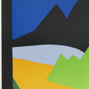 Against a black border, the central image, placed in the upper quadrant, is an abstracted landscape design of brightly colored cut out shapes that suggest water, trees, mountains, and sky. The colors are vivid blues, greens, yellow, and lavender against a black mountain range that cuts across the image and merges with the black border of the poster. Below the image in white text at right, is the title: North Cascades / State of Washington