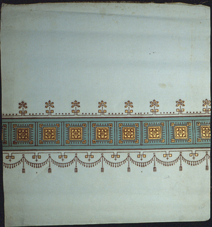 Green band containing square gold motifs runs across one end of shade. Above this band are small stylized floral motifs. Below, is a fringed swag with tassels printed in flock. Printed on a pale green shade.